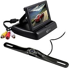 [Visione Frontale o Posteriore Regolabile] Sistema Monitor Videocamera per Auto Frontale/Posteriore - Esky® 100% Videocamera Waterproof HD con Angolo di Visione a 170 Gradi, Visione Notturna, Antinebbia + Monitor da 4.3'' TFT LCD per Visione Posteriore