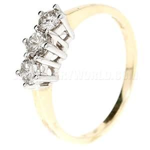 0.50ct Diamond 9ct Gold Trilogy Ring - Q