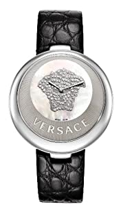 Versace Perpetuelle Women's Quartz Watch with Mother of Pearl Dial Analogue Display and Black Leather Strap 87Q99SD497 S009