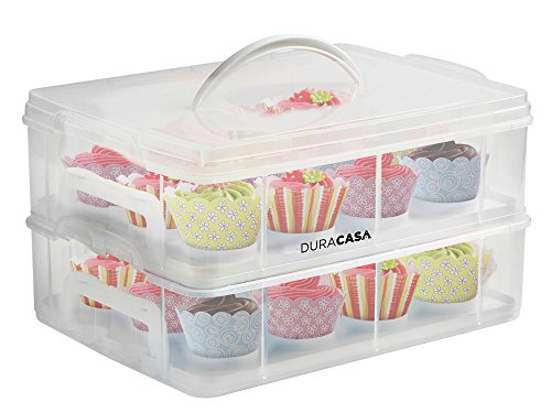 DuraCasa Cupcake Carrier | Cupcake Holder | Store up to 24 Cupcakes or 2 Large Cakes | Stacking Cupcake Storage