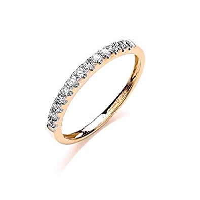 JQS - 18ct Yellow Gold 0.20 Carat Diamond H/Si Half Set Eternity Style Wedding Ring