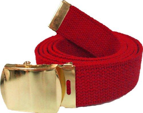 "100% Cotton Military 54"" Web Belt (Red Belt w/ Gold Buckle)"
