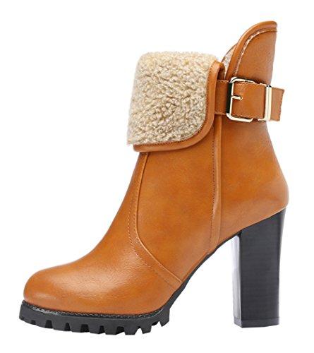 Guciheaven Winter New British Style Women Keep Warm Rough Heels Short Boots(7.5 B(M)Us, Tan)