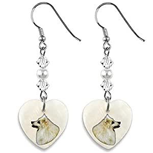 Amazon.com: Timest Japanese Spitz Mother Of Pearl Heart Earrings