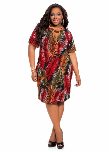 Ashley Stewart Women's Plus Size Leaf Print Faux Wrap Dress Red Coat 18/20