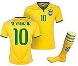 子供用 ブラジル代表 ホーム 2015/16・半袖 サッカーレプリカユニフォーム(シャツパンツソックスセット)・Neymar 10 番 ネイマール (身長120cm 前後)