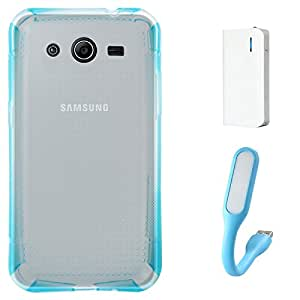 DMG Ultra Thin Flexible TPU Extra Protection and Grip Back Cover Case For Samsung Galaxy Core 2 G355H (Blue) + 6000 mAh PowerBank + Mini USB LED Light Lamp