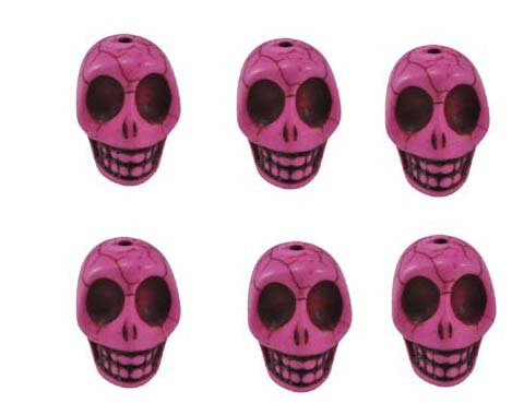 Pink Magnesite Dyed Gemstone Beads Carved Skull Beads, 20 X 17 X 14 (6 Per Set)