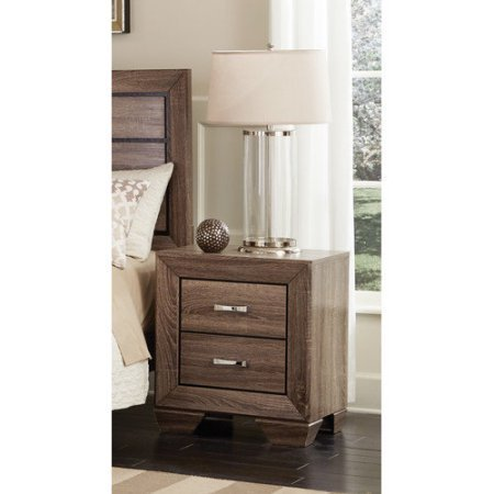 Kauffman Nightstand, Washed Taupe Chrome Metal Handles Transitional Design (Night Stand Mini Fridge compare prices)