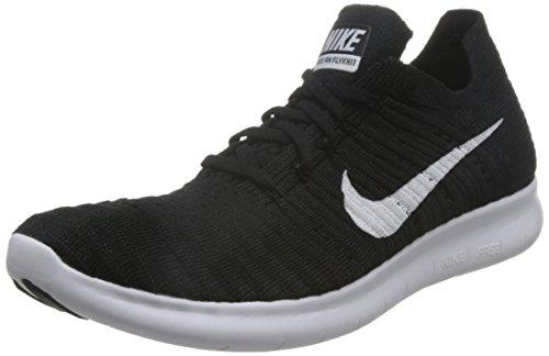 Nike Free Run Flyknit, Scarpe Running Donna, Nero (Schwarz/Weiß), 37.5 EU
