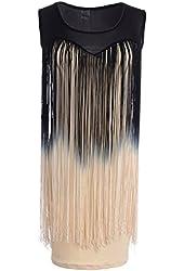 PrettyGuide Gatsby Style 1920s Sheer Neckline Ombre Long Fringe Trim Flapper Dress