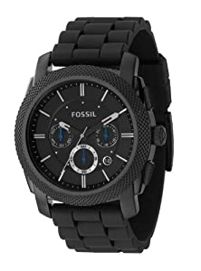 Fossil FS4487 Mens Black Dial Black silicone Watch