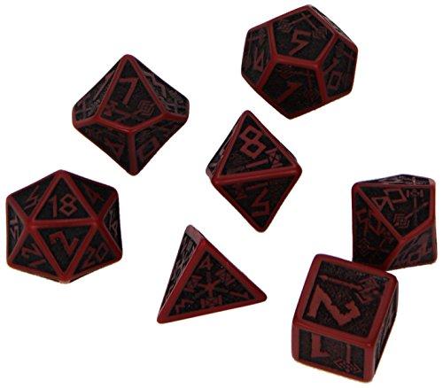 Q-Workshop Polyhedral 7-Die Set: Carved Dwarven Dice Set - Red & Black