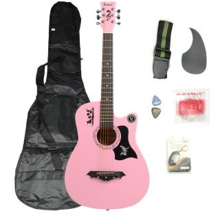 Moppi DK – 38C Basswood Gitarre Pink mit Tasche Riemen nimmt LCD Tuner Pickguard String günstig kaufen