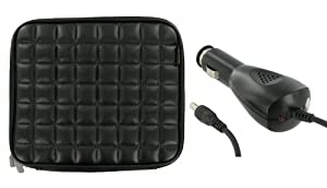 ASUS Eee PC Touch T91 8.9-Inch Netbook Laptop Sleeve Slipcase with 12v Car Charger (Memory Foam with Faux Leather - Black)