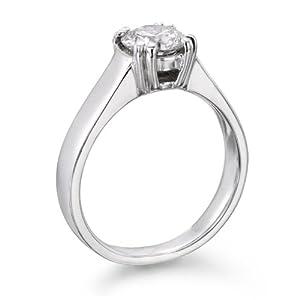 Diamant Ring 1.00 Ct W D/VS2 Round 18 Karat (750) Weißgold (Ringgröße 48-63)