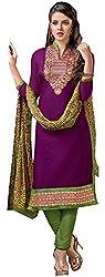 Swaman Purple Chanderi Dress Material