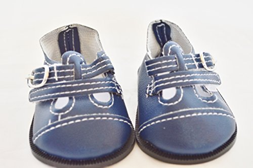TWO BUCKLE NAVY BLUE LEATHER SHOES FOR AMERICAN GIRL DOLLS AND BITTY TWINS