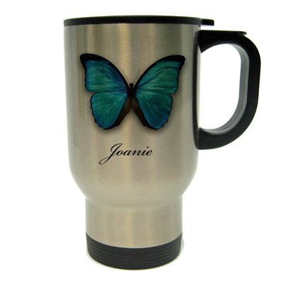 Blue Butterfly Personalized Travel Mug