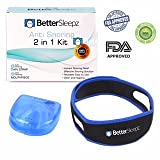 Anti Snoring Devices - Better Sleepz Anti Snoring 2 in 1 Kit - Stop Snoring - Snoring Mouthpiece - Snoring Chin Strap - Sleep Aid - 2 Effective Devices for The Price of 1