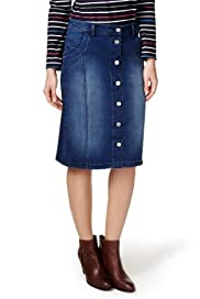 Per Una Button Down Denim Pencil Skirt [T62-8881I-S]