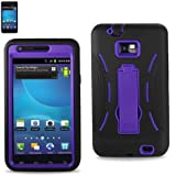 Premium Hybrid Case for AT&T GALAXY S2 i777 (Inner Hard Shell + Outer Silicone) Black and Purple (With Flip Out Kickstand)