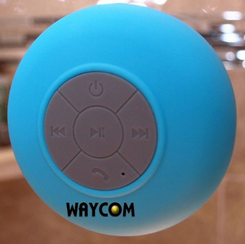 Waycom Waterproof Wireless Bluetooth Shower Speaker & Handsfree Speakerphone - Compatible With All Bluetooth Devices, Iphone 5 Siri And All Android Devices (Blue)