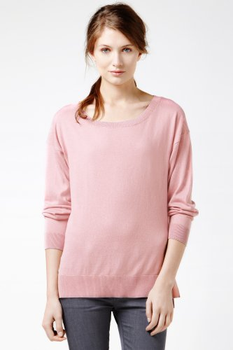 Long Sleeve Silk Cotton Boatneck Sweater