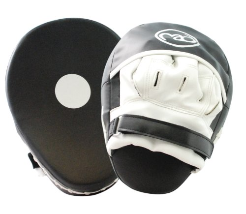 Boxing-Mad Curved Synthetic Leather Focus Pads - Black/White