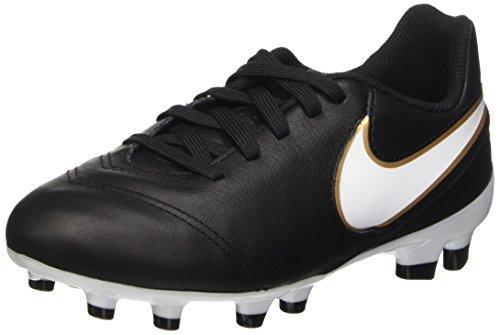 Nike Jr Tiempo Legend Vi Fg Scarpe da calcio allenamento, Unisex bambini, Multicolore (Black/White-Metallic Gold), 38.5 EU