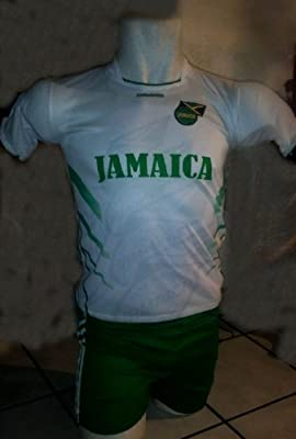 CHILDRENS, BOYS , GIRLS, KIDS, UNISEZ Jamaica SOCCER KIDS SETS JERSEY & SHORT SIZE LARGE (APPRO. 7T) FOR AGES 5 TO 6 YEARS OLD - WHITE AND GREEN
