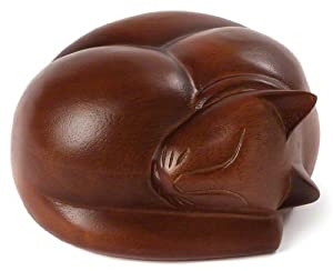 100's of Urns & Memorials for Dogs and Cats - Urn - Sleeping Cat Series: Brown - For Cats 1 to 15 lbs.