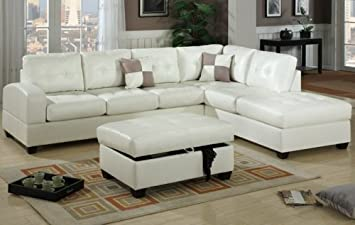 Furniture2go F7359 Contemporary Style Cream Sectional Sofa - Reversible Left/Right Chaise, 3-Seat Sofa