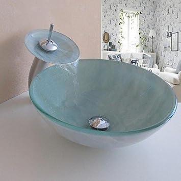 Ty lavandino del bagno Set, vetro temperato Vessel Sink con cascata rubinetto, anello di montaggio e scarico acqua