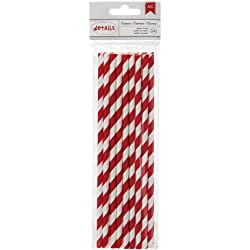American Crafts 24 Count Lined Paper Straws, Crimson