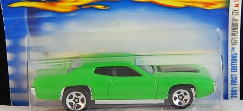 Hot Wheels 2001 First Editions 1971 Green Plymouth GTX #14/36 Collector #026