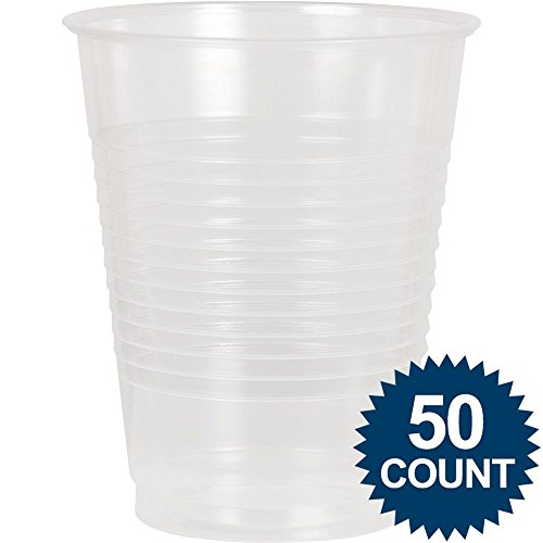 Amscan Big Party Pack 50 Count Plastic Cups, 16-Ounce, Clear