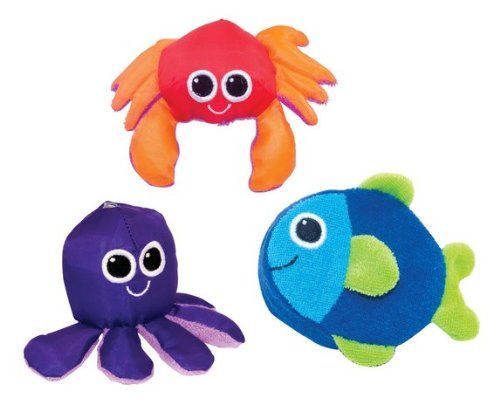 Game / Play Sassy Soft Swimmers Animal Characters Bath Toy, 3 Pack. Floating, Rubber, Squirt Toy / Child / Kid
