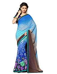 AG Lifestyle Blue Faux Georgette & Jacquard Pallu Saree With Unstitched Blouse ELG8017