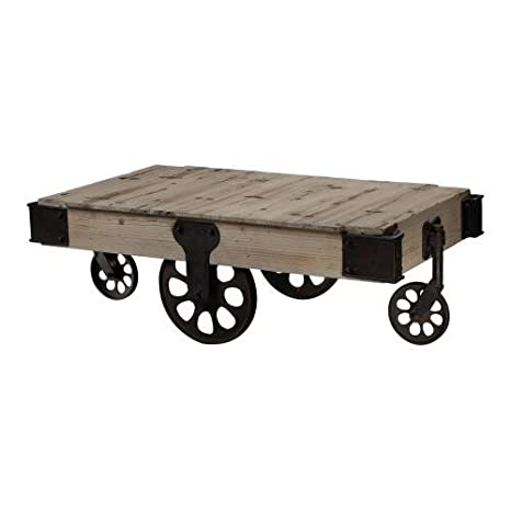 Industrial Unfinished Wooden Coffee Table with Iron Casters