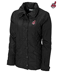 Cleveland Indians Ladies WeatherTec Granite Falls Jacket Black by Cutter & Buck