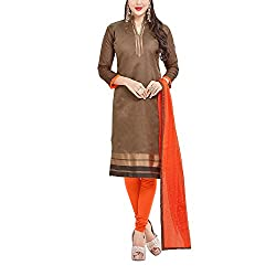 Applecreation Women's Brown | Synthetic unstitched dress materials for women party wear bollywood dress material for Casual | Ceremony | Evening Occasions