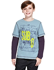 Pure Cotton Nautical Print Mock Layered T-Shirt