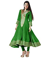 Clickedia Women's Georgette A-line Green Kurta with collar neck