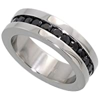 Stainless Steel 1/4 in. (6 mm) Eternity Band w/ Black CZ Stones (Available in Sizes 5 to 9), size 8 1/2