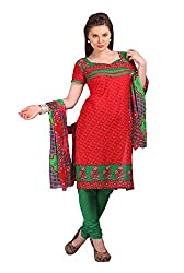 Parchayee Women's Red Printed Cotton Dress Material