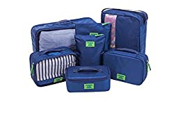 7 Set Durable Lightweight Travel Packing Cubes Weekender Set - Organizers and Compression Pouches System for Carry-on Luggage Accesories, Suitcase and Backpacking (Royal Blue)