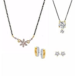Parinaaz Combo of 2 CZ Mangalsutra, 2 Pair of Stud Earrings