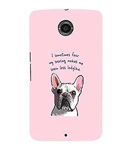 EPICCASE Pink lady Bulldog Mobile Back Case Cover For LG Nexus 6 (Designer Case)