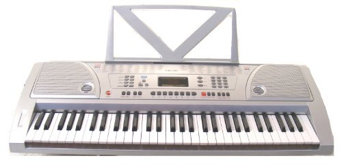 61 Keys Silver Keyboard Full Size Student Electronic Digital Piano With Notes Holder & Ac Adapter & Directlycheap(Tm) Translucent Blue Medium Pick